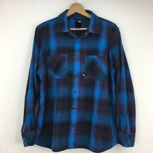 The North Face Blue Plaid Snap Front Shirt Large